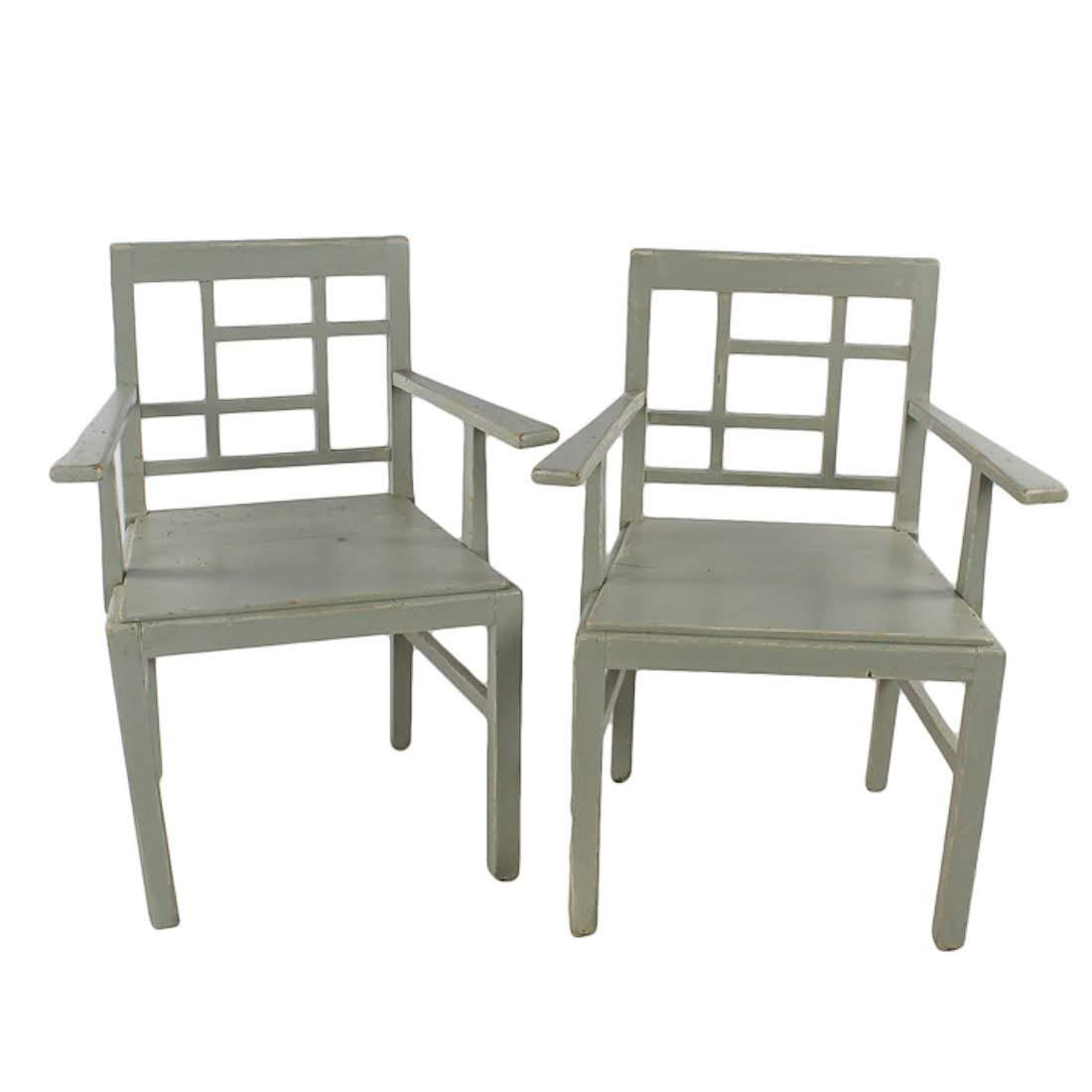 Pair of Swedish Gustavian Sage Green Fine Wooden