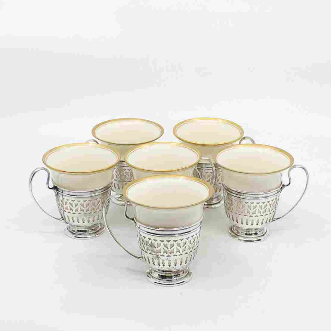 Set of Six Lenox Pierced Sterling Silver Demitasse Cups