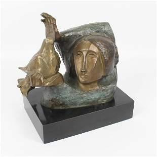 "Sunol Alvar ""Girl with Dove"" Signed Bronze Sculpture"