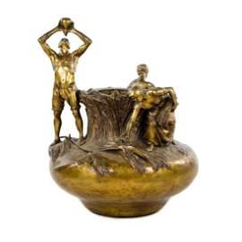 19th C. Art Nouveau Bronze Vase by Antonin Larroux
