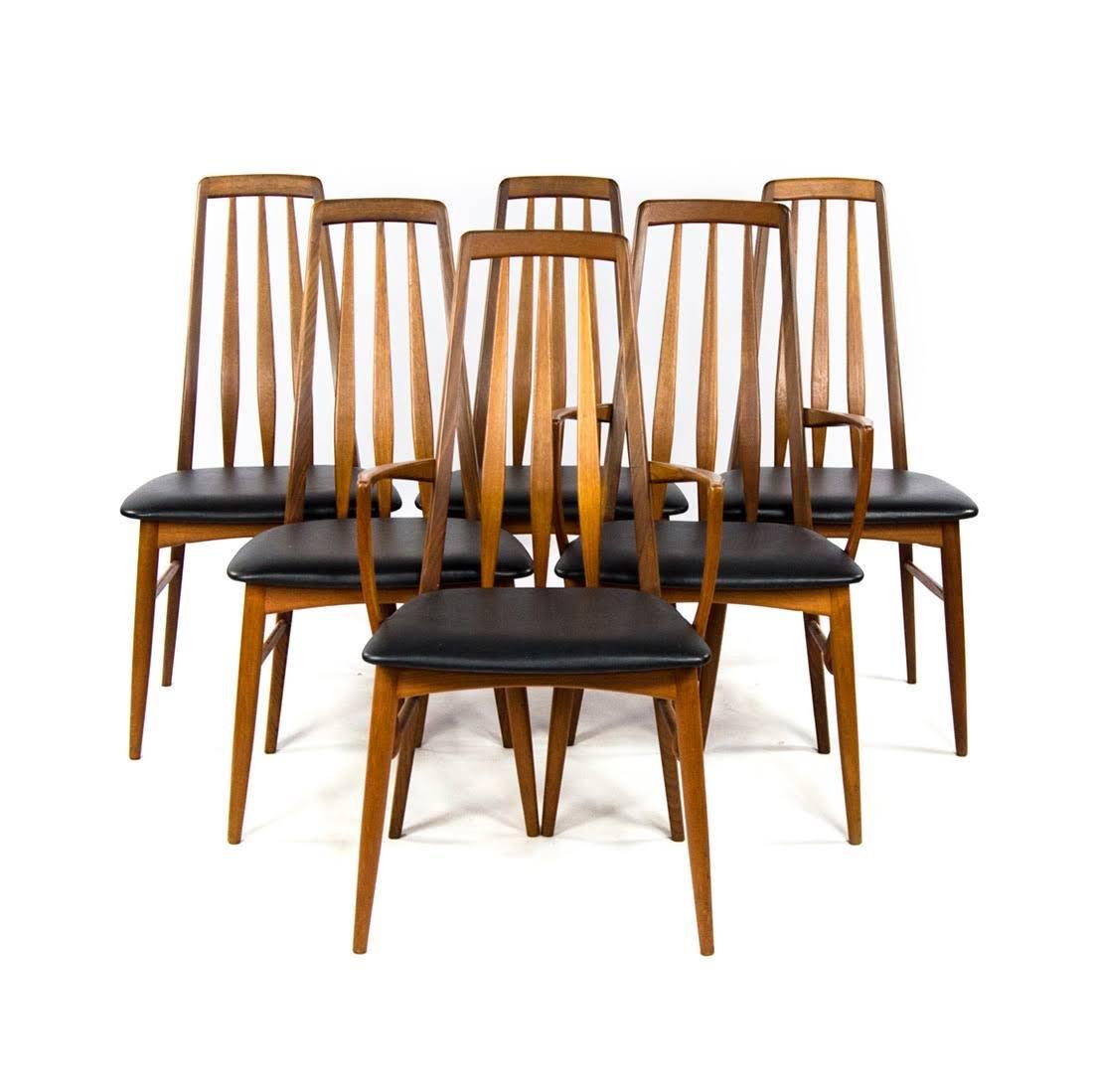"Set of Six Danish MCM Teak ""Eva"" Dining Chairs by Niels"