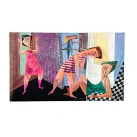 """1950s Cubist Casein on Board """"Ballet School"""" by Mandel"""