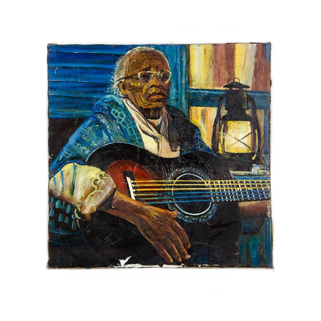 Oil on Canvas Portrait of Guitarist