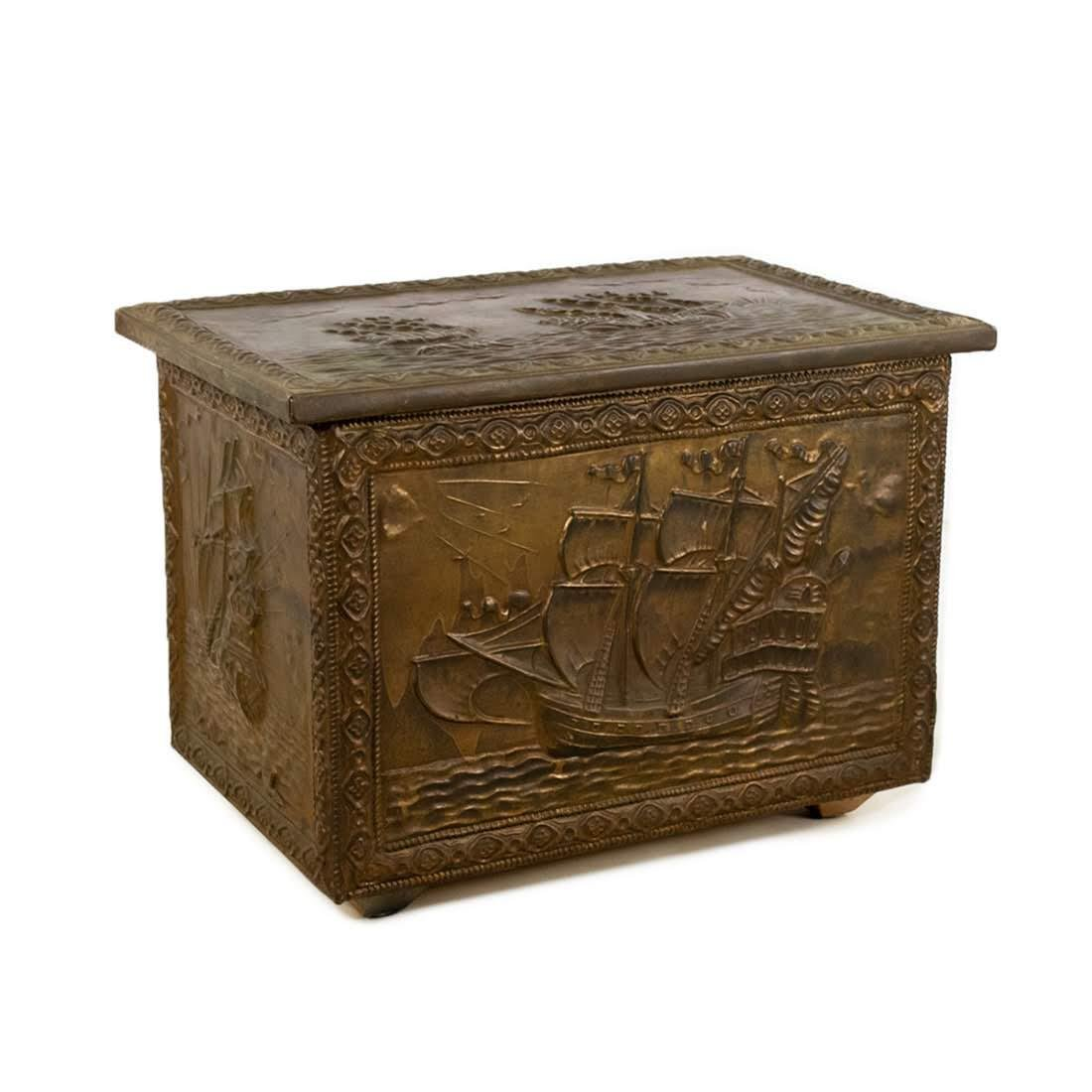 Embossed Brass on Wood Galleon Ship Chest