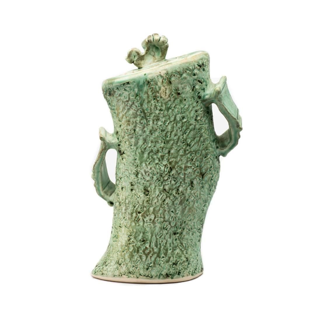 Whimsical Green Art Pottery Lidded Vase