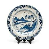 Blue & White Chinese Glazed Stoneware, Marked