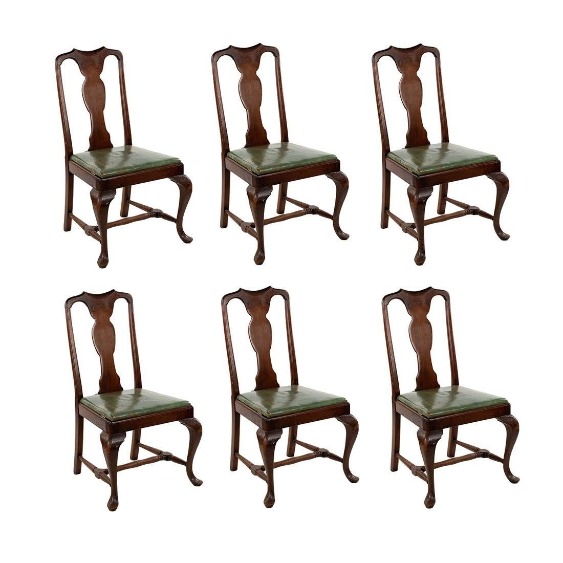 Chippendale Leather and Mahogany Dining Chairs Set of 6