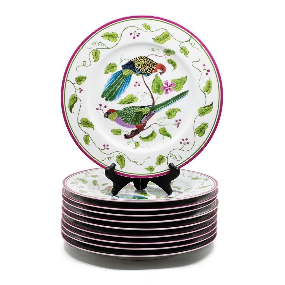 "Lynn Chase ""Parrots of Paradise"" Dinner Plates Set of"