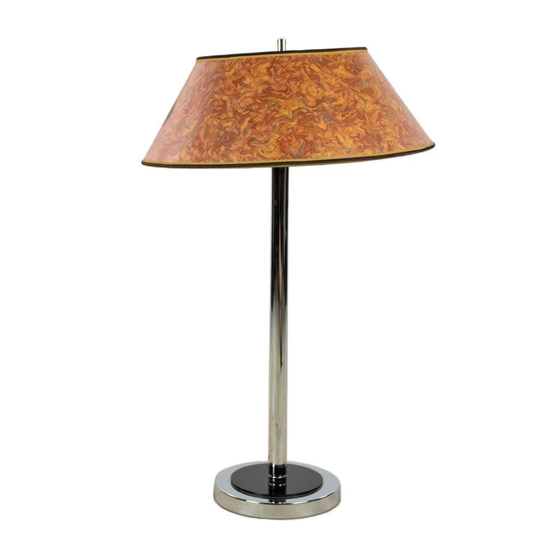 Mid-Century Modern Chrome Double Bulb Table Lamp