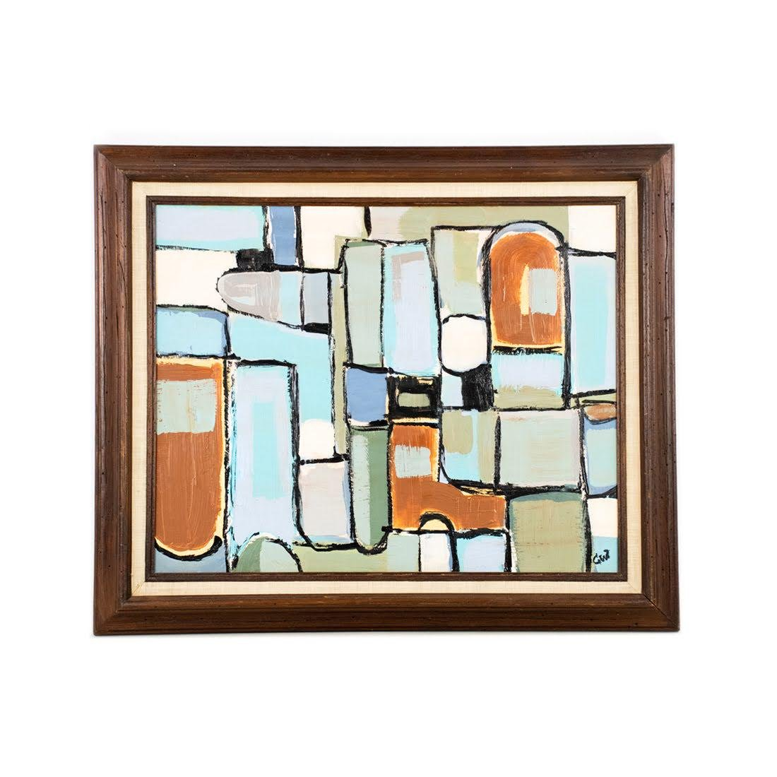 Mid-century Modern Abstract O/C Painting Signed CW