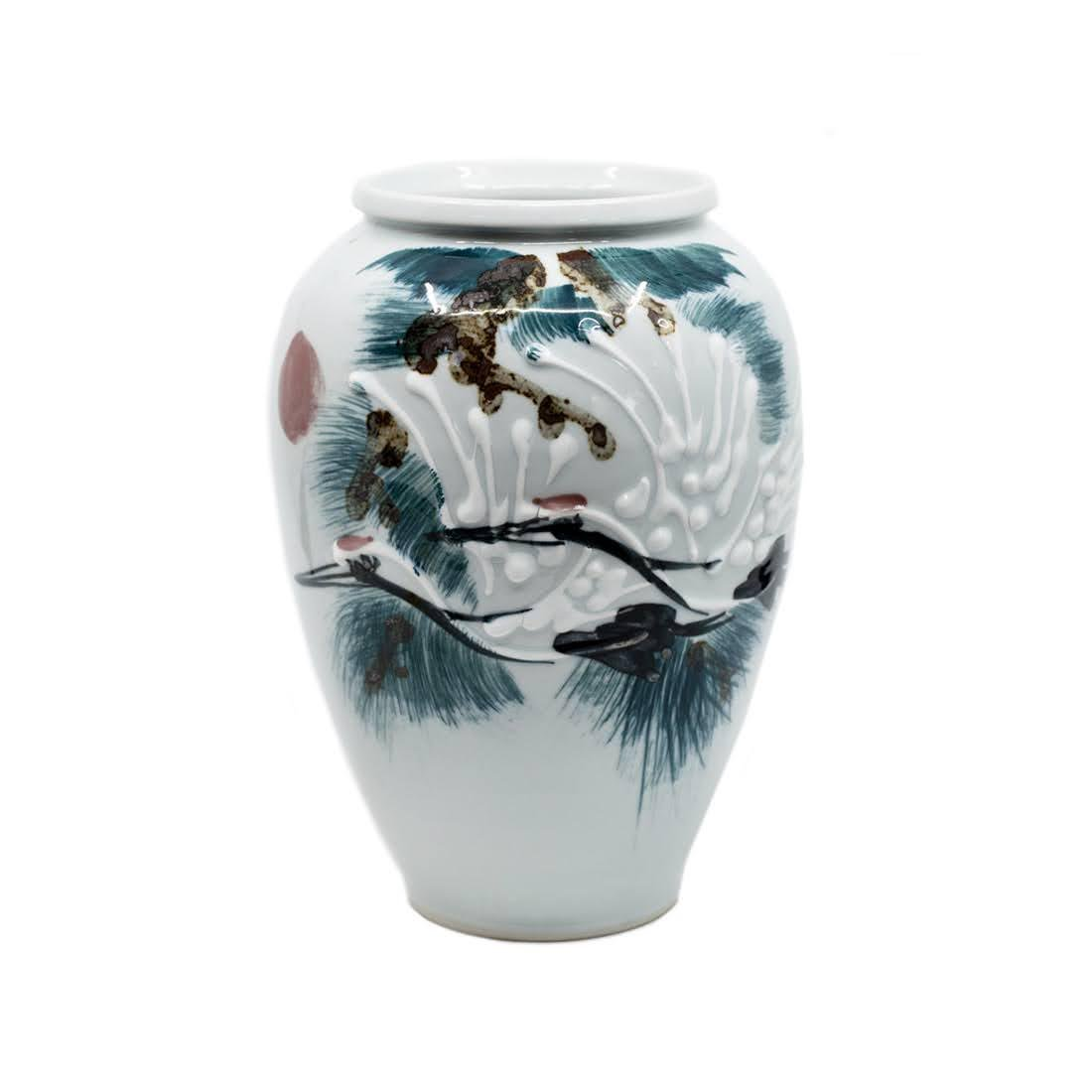 White Moriage Vase with Japanese Red Crown Cranes