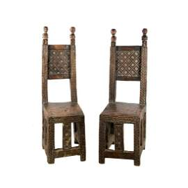 Antique Carved Hardwood Zulu Throne Chairs
