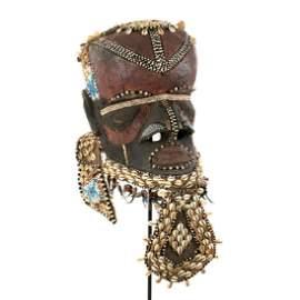 19th Century African Congo Kuba Bwoom Helmet Mask
