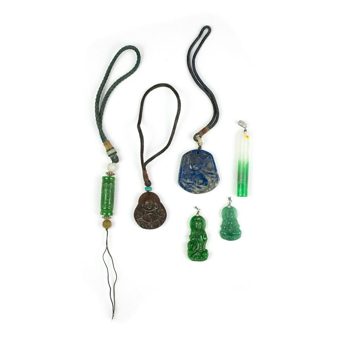 6 Chinese Green, Blue and Brown Hardstone Pendants