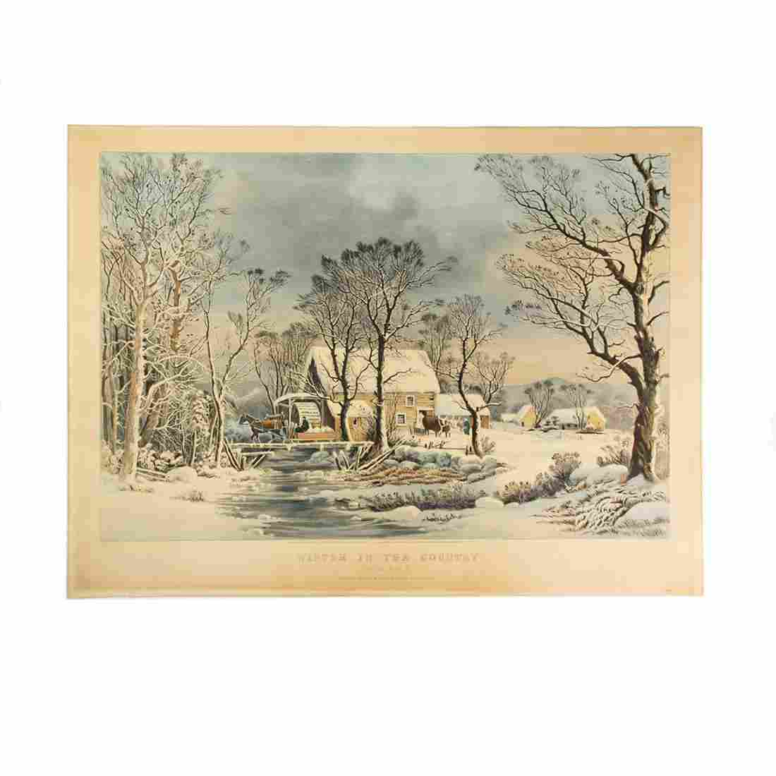 "Currier & Ives ""Winter"" Large Folio Colored Lithograph"