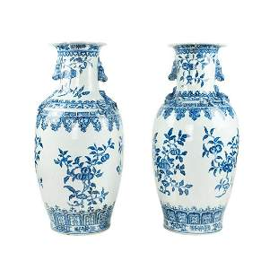 19th C Chinese Ming Style Blue & White Porcelain Vases