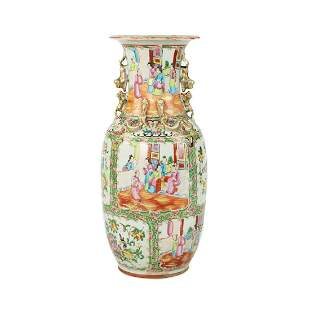 19th C Chinese Export Rose Medallion Vase