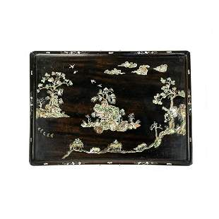 19th C Chinese Mother of Pearl Inlaid Ebonized Tray