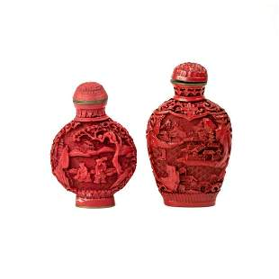 Pair of Chinese Cinnabar Carved Snuff Bottles