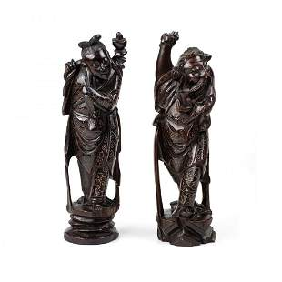Pair of Chinese Silver Inlay Rosewood Carved Figurines
