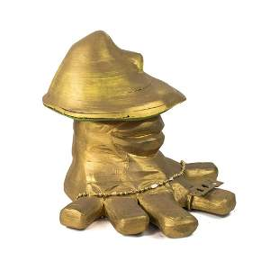 Contemporary Gold Painted Abstract Mushroom Foot