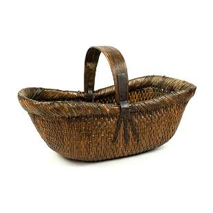 Chinese Cane Wicker Woven Flower Gathering Basket