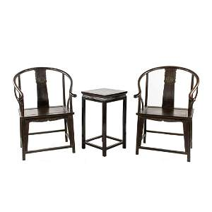Chinese Ming Dynasty Zitan Quanyi Horseshoe Chairs and