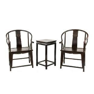 Chinese Ming Dynasty Zitan Quanyi Horseshoe Chairs and