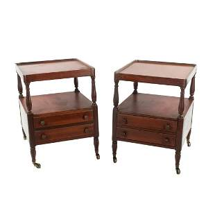 Pair of Regency Style Two Tier Side Tables