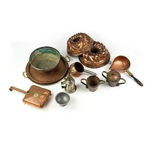 Grouping of 12 Copper and Brass Cook and Serveware