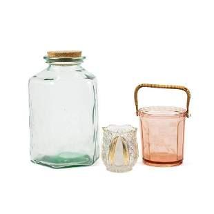 Group of 3 Pink & Blue Depression Glass Vessels, Vase