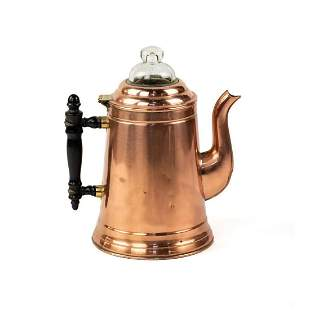 Antique Rome 6 Cup Copper Percolator with Wooden Handle