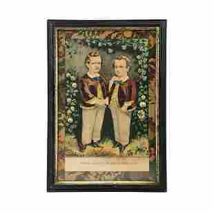 Currier & Ives 'The Little Brothers' Lithograph Print