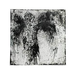 Modern Black and White Abstract O/C Signed Painting