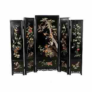 Chinese 5 Panel Lacquered Hardstone Staggered Screen