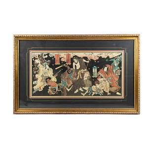 Kunisada Utagawa Triptych Memorial Woodblock Print