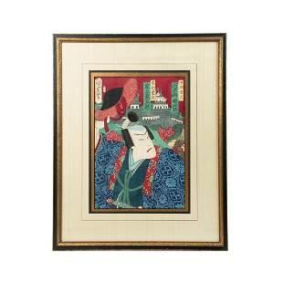 Toyohara Kunichika Samurai Portrait Woodblock Print