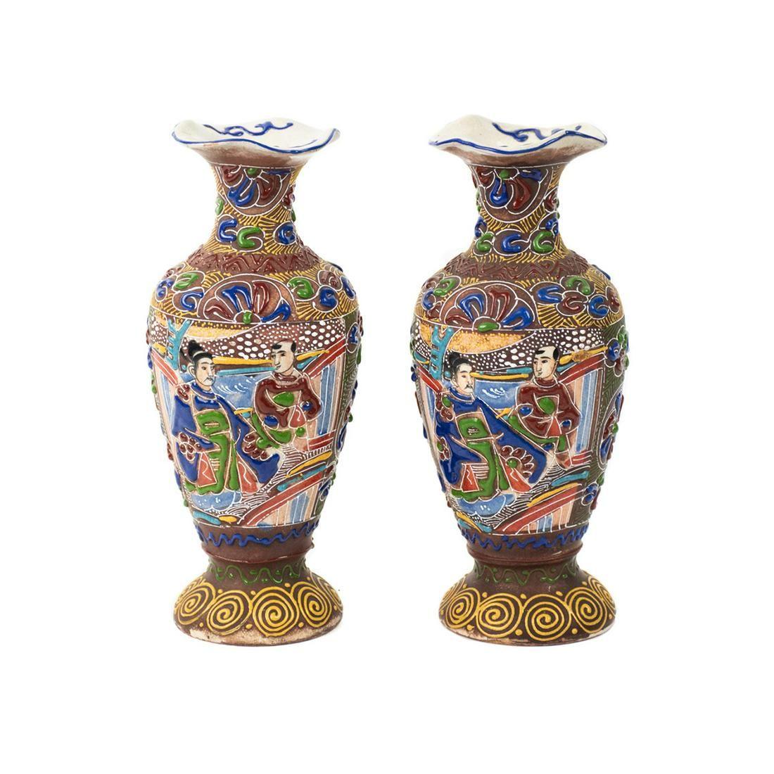 Pair of Japanese Satsuma Porcelain Moriage Vases
