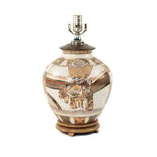 Japanese Satsuma Porcelain Urn Table Lamp