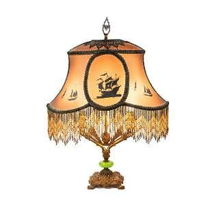 Antique Art Deco Double-Light Table Lamp