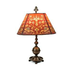 Antique Handel Reverse Painted Brass Lamp