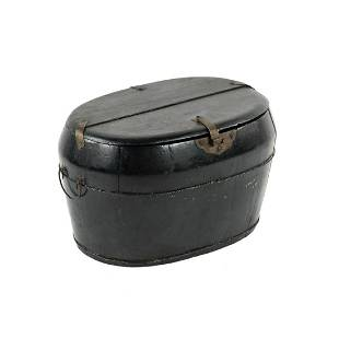 19th C. Chinese Black Lacquered Oval Rice Grain Storage