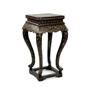 Chinese Dragon Motif Black Lacquer Pedestal Table
