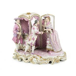 Antique French Capodimonte Style Porcelain Statue