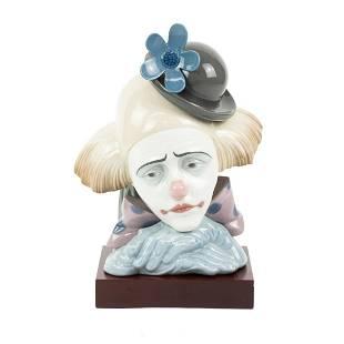 Lladro Porcelain Pensive Clown Bust with Base No. 5130