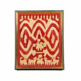 Framed Panamanian Kuna Mola Tapestry