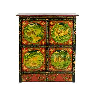 19th C. Tibetan Animal Scene Painted 4 Door Cabinet