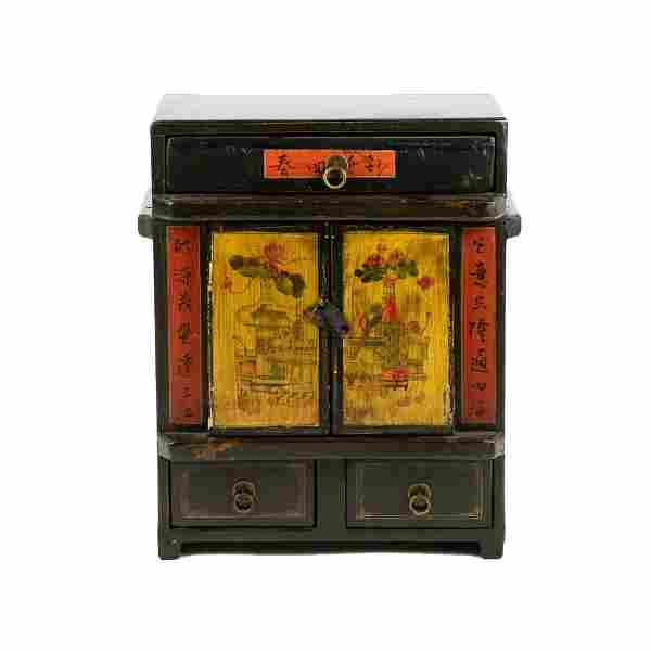 Chinese Two Door Painted Dresser Cabinet