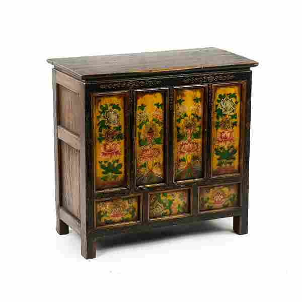19th C. Tibetan Hand-Painted Lotus Motif Petit Cabinet