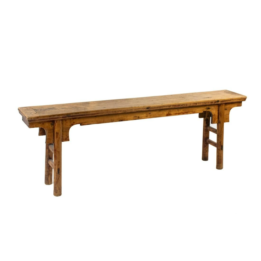 19th C. Chinese Ming Style Long Elm Bench
